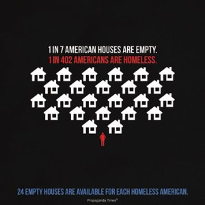 1 in 7 American Homes are Empty. 1 in 402 Americans are Homeless. 24 empty houses are available to each homeless American.